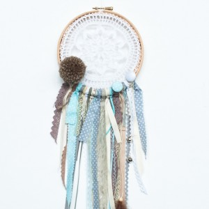 Lapač snů 15 cm - Hnědá bambulka
