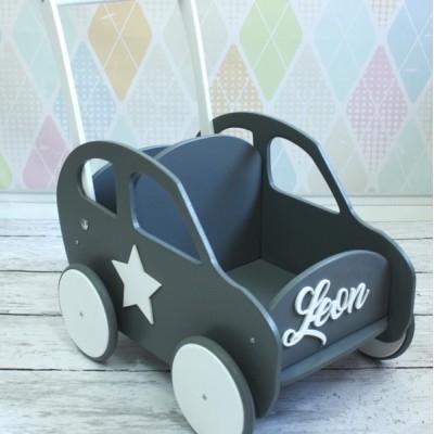 Dřevěný vozík / auto se jménem - Různé barvy