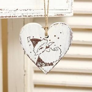 Závěsné srdce Santa - 7 cm