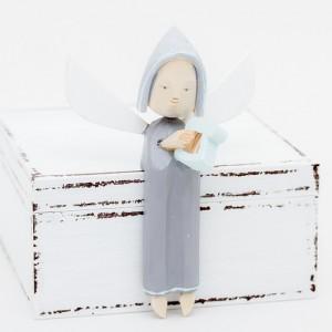 Dřevěný anděl s harfou - šedý
