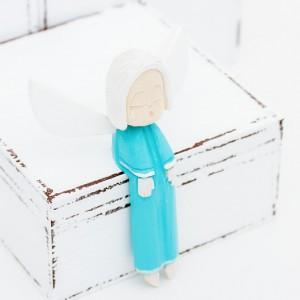 Dřevěný anděl zpívající - tyrkysový