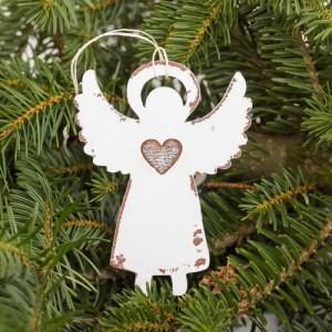 Závěsný anděl rytý se svatozáří - 10 cm