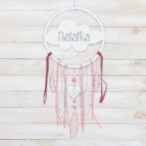 Lapač snů s nápisem + peříčka / srdíčko s rytým nápise