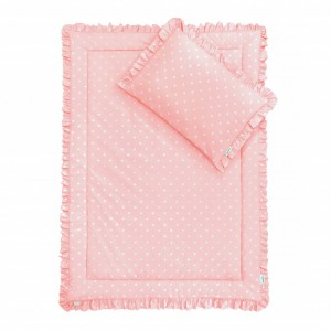 Souprava polštář a přikrývka 100x135 - s volánky / Lovely Dots Pink