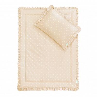 Souprava polštář a přikrývka 100x135 - s volánky / Lovely Dots beige