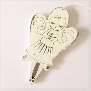 Závěska 10 cm - Anděl bílý