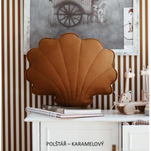 SKLADEM Polštář - mušle len karamel