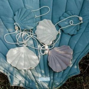 Girlanda mušličky - Pastelová modrá