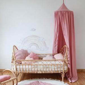 Baldachýn - Růžový se zlatým puntíkem