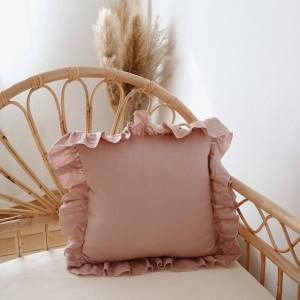 Povlak na polštář lněný s volánem - Pudrový růžový