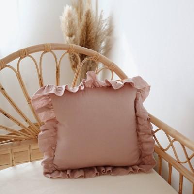 Polštář lněný s volánem - Pudrový růžový