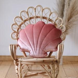 Polštář - mušle velvet (aksamit) marsala perlová