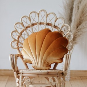 Polštář - mušle velvet (aksamit) zlatá perlová