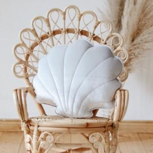 Polštář - mušle velvet (aksamit) stříbrná perlová