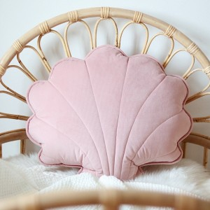 Polštář velký - mušle velur růžový