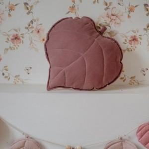 Polštář - list lněný Marsala (hnědo-růžový)