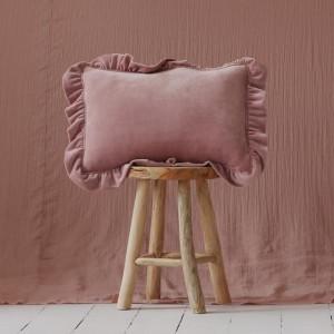 Polštář s volánky - velur light Pink