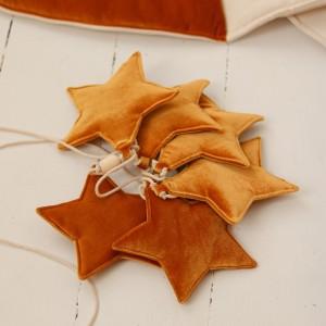 Girlanda velvet (aksamit) hvězdičky - Gold