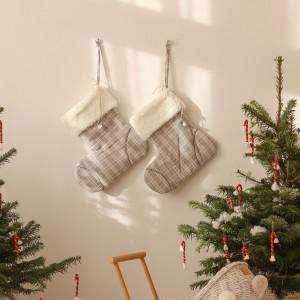 Vánoční ponožka sv. Mikuláše - šedá 40 cm