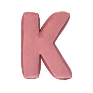 SKLADEM - Polštář velvet písmeno růžové K