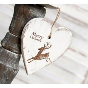 SKLADEM - Závěsné srdce Merry Christmas - 10cm