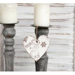 Závěsné srdce Angel Merry Christmas - 10 cm