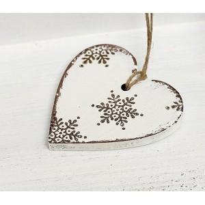 Závěsné srdce Sněhové vločky - 7 cm