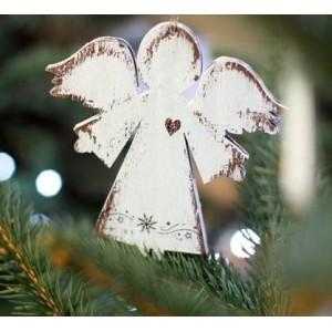 Závěsný anděl se srdíčkem - 12 cm