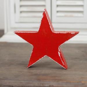 Dřevěná velká hvězda 15cm - červená