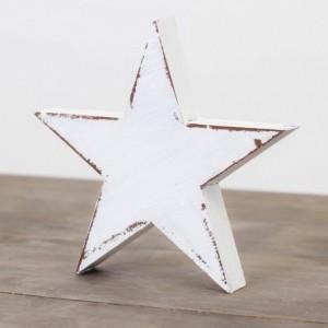 Dřevěná velká hvězda 15cm - bílá s mašlí