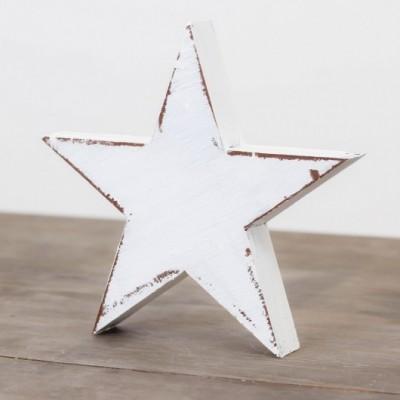 Dřevěná velká hvězda 15cm- bílá s mašlí