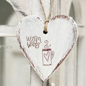 Závěsné srdce 7cm Warm Wishes