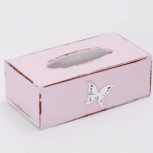 Krabička na kapesníky růžová - Motýl