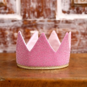 Královská koruna - růžová / zlatý lem