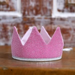 Královská koruna - růžová / stříbrný lem