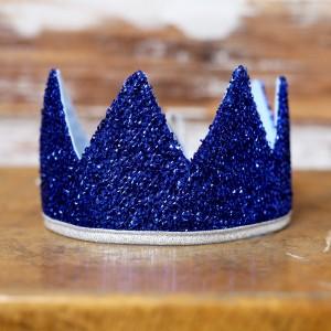 Královská koruna - modrá / stříbrný lem