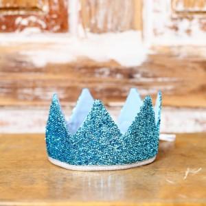Královská koruna - tyrkysová / stříbrný lem