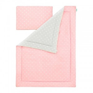 Souprava polštář a přikrývka 100x135 - Lovely Dots Pink / Grey