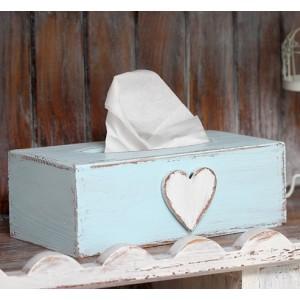 Krabička na kapesníky - Modrá se srdcem