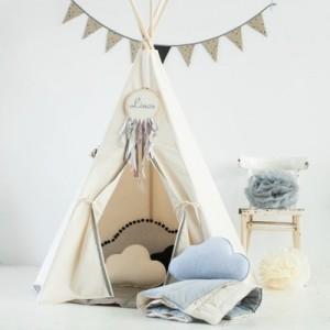 Dětské Týpí / Teepee - Šedé bambulky