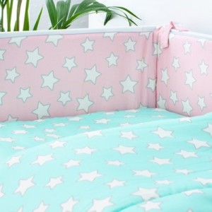 Mantinel do postýlky - Pink / Mint Stars