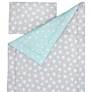Souprava polštář a přikrývka 100x135 - Mint / Grey Stars