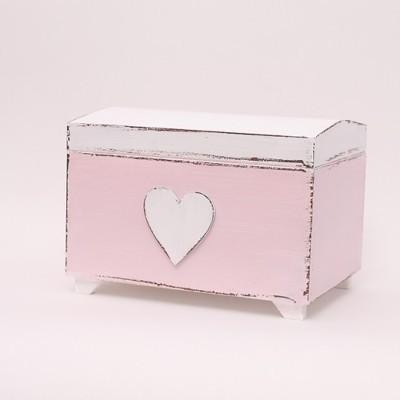 """Dřevěná růžová truhla na poklady """"srdce"""""""