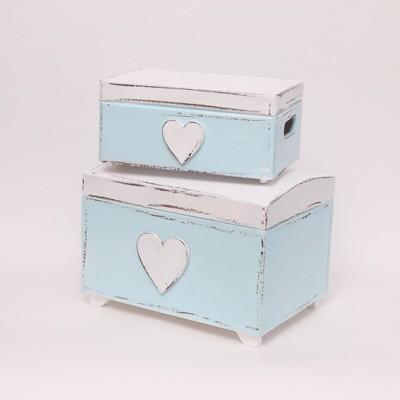 """Dřevěná modrá truhla na poklady """"srdce"""""""