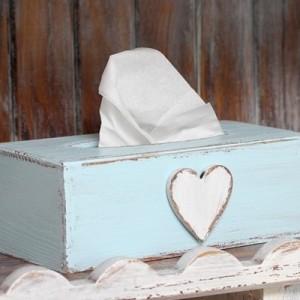 Krabička na kapesníky modrá - Srdce