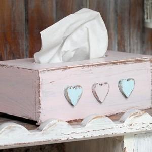 Krabička na kapesníky růžová - Srdíčka