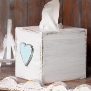 Krabička na kapesníky - Srdce modré