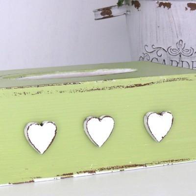 Krabička na kapesníky - Zelená se srdíčky