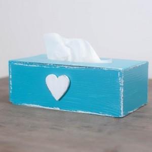 Krabička na kapesníky tyrkysová - Srdce
