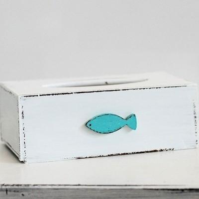 Krabička na kapesníky - Bílá s tyrkys rybkou